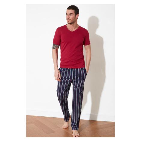 Trendyol Burgundy Striped Pyjama Set