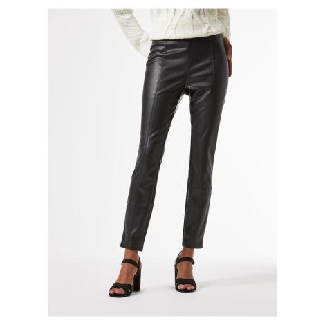 Čierne skrátené koženkové nohavice Dorothy Perkins Petite