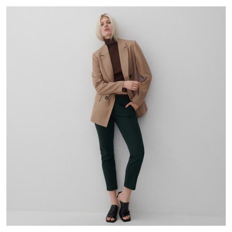 Reserved - Nohavice cigaretového strihu s opaskom - Khaki
