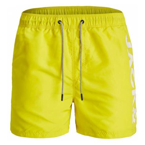 JACK & JONES Plavecké šortky  neónovo žltá / biela