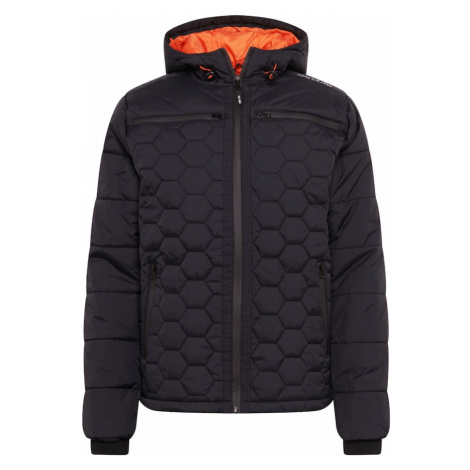 INDICODE JEANS Prechodná bunda 'Coates'  tmavooranžová / čierna melírovaná