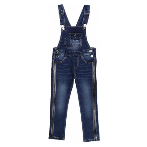 Dievčenské jeansové nohavice s trakmi