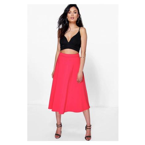 Červená midi sukňa Arianna s jemnými sklady Boohoo