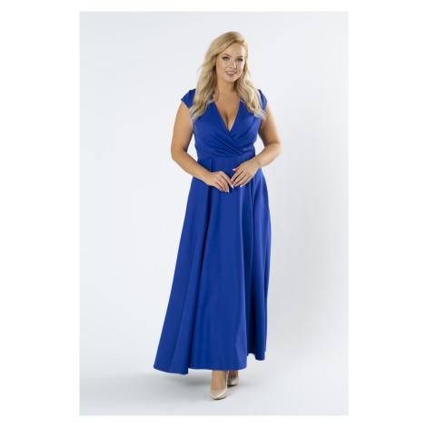 Modré dlhé spoločenské šaty s rázporkom