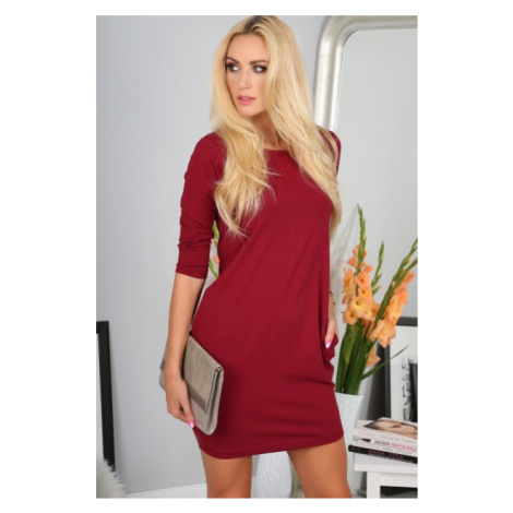 Mini šaty s dlhými rukávmi, bordové FASARDI