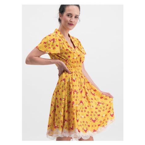 Žlté kvetované šaty Blutsgeschwister Sweet Mariandl