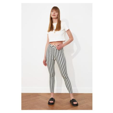 Trendyol Black Striped High Waist Skinny Jeans