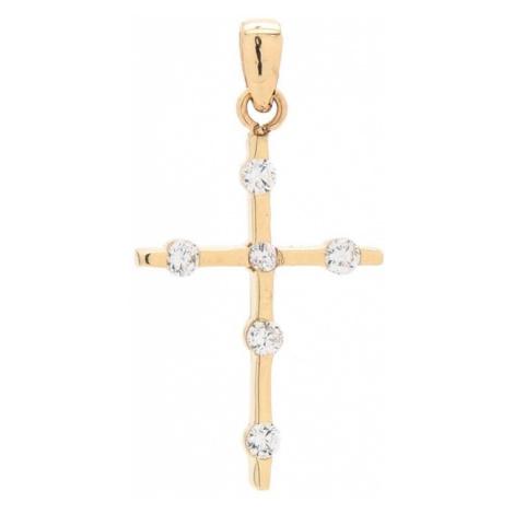 Zlatý prívesok ŽLTÝ KRÍŽIK s kamienkami