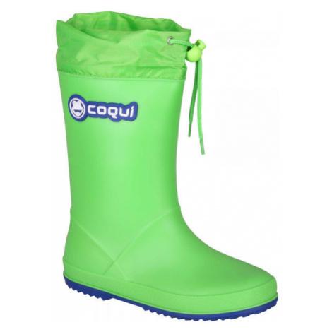Coqui RAINY COLLAR zelená - Detské čižmy