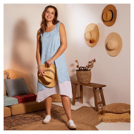 Blancheporte Asymetrické šaty s potlačou a efektom 2 v 1 tyrkysová/biela