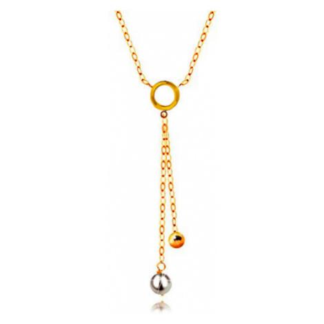 Zlatý 14K náhrdelník - biela perla a lesklá gulička na retiazkach, plochý krúžok