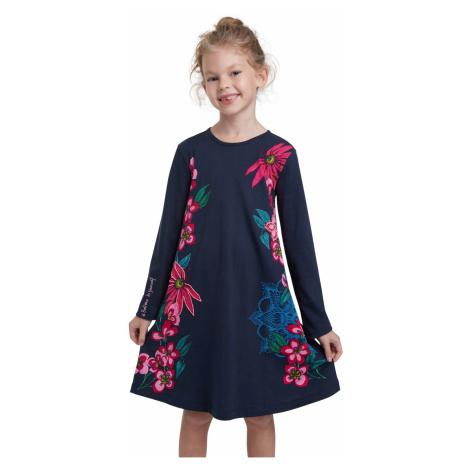 Desigual modré dievčenské šaty Vest Wildflower