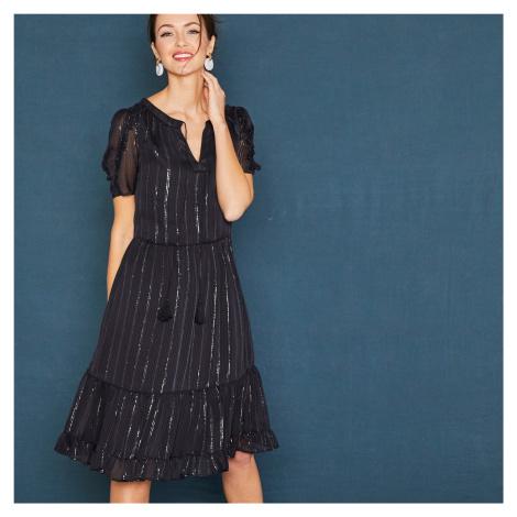 Blancheporte Krátke čierne šaty s krátkymi rukávmi čierna