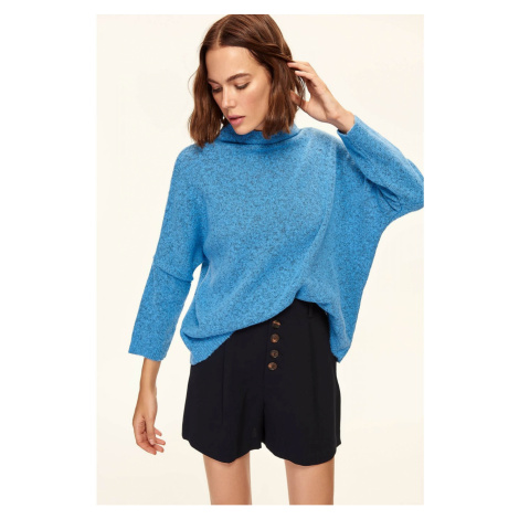 Trendyol Blue Bat Sleeve Knitted Sweater Navy