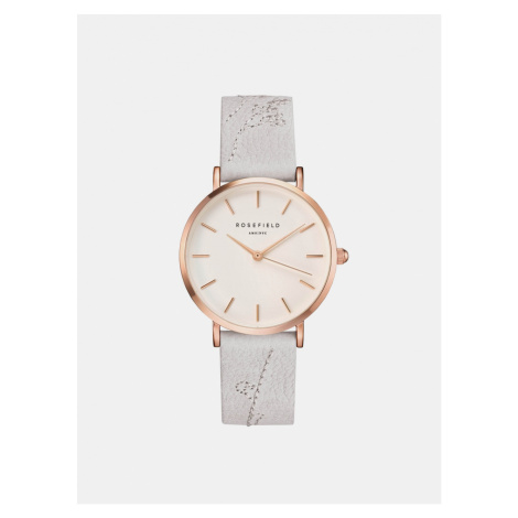Dámske hodinky s bielym koženým remienkom Rosefield