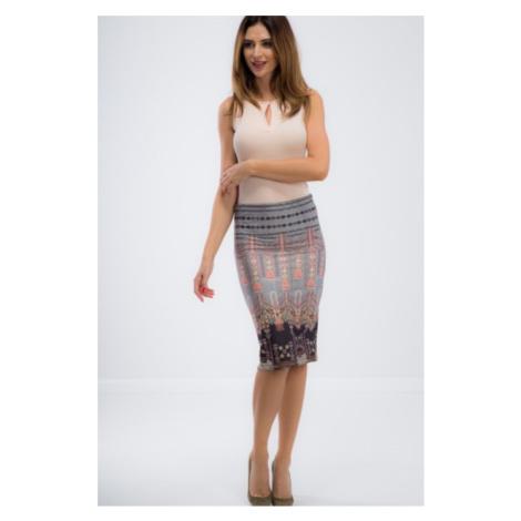 Sivá midi sukňa s farebnými vzormi a detailmi FASARDI
