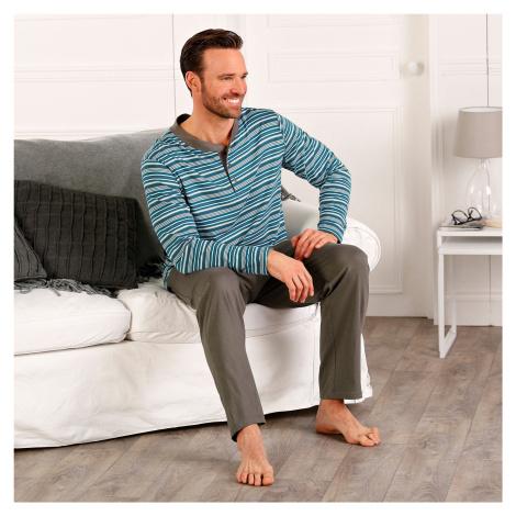 Blancheporte Pyžamo s tuniským výstrihom a dlhými rukávmi, s prúžkami antracitová/tyrkysová