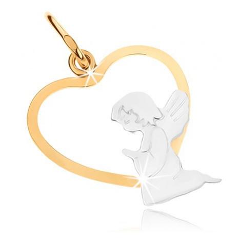 Zlatý dvojfarebný prívesok 375 - kľačiaci anjelik v spodnej časti obrysu srdca