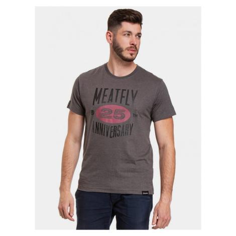 Tmavošedé pánske tričko s potlačou Meatfly