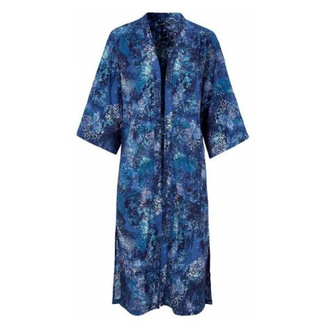 Dlhé kimono s modrým vzorom