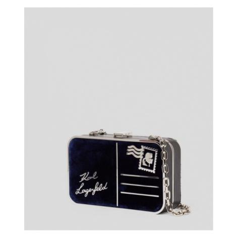 Kabelka Karl Lagerfeld K/Postcard Velvet Minaudiere - Modrá
