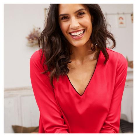 Blancheporte Šaty s kontrastným lemovaním červenooranžová