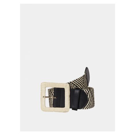 Krémové-čierny vzorovaný pásik Pieces Corina