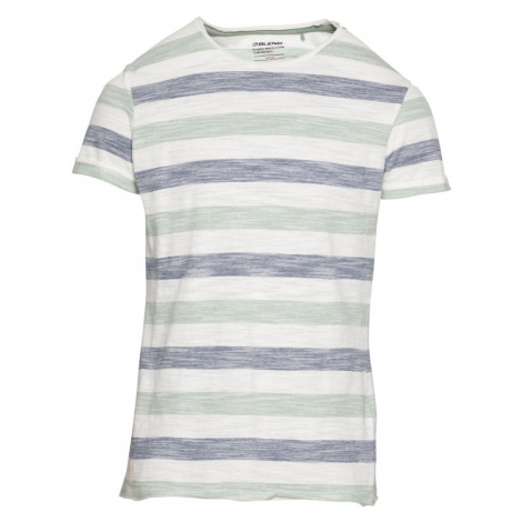 BLEND Tričko  mätová / biela / tmavomodrá