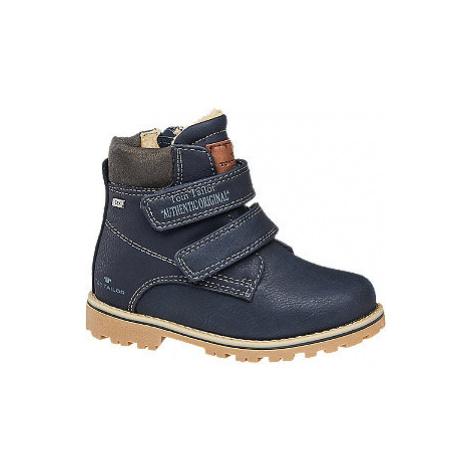 Tmavomodrá chlapčenská členková obuv na suchý zips s TEX membránou Tom Tailor