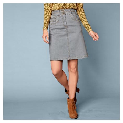 Blancheporte Džínsová rozšírená sukňa sivá