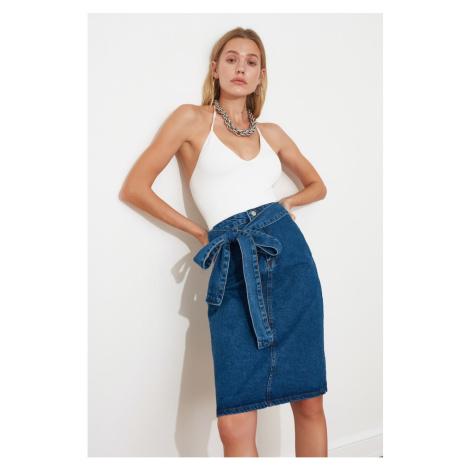 Trendyol Blue Belt sliver Detail Midi Denim Skirt