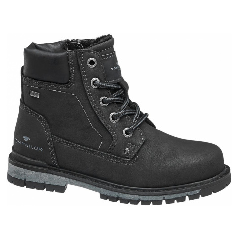 Tom Tailor - Čierna chlapčenská členková obuv Tom Tailor s Tex membránou