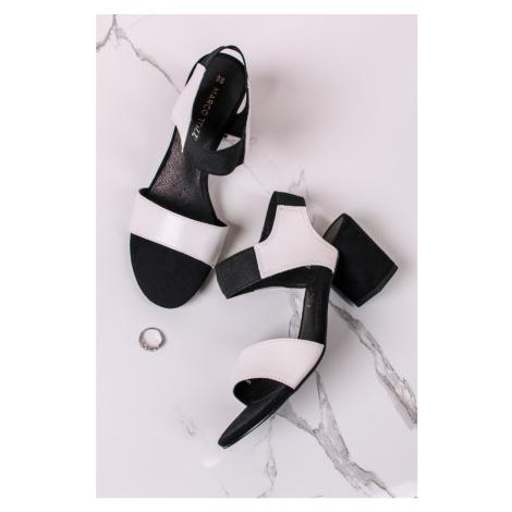 Čierno-biele kožené sandále na hrubom podpätku 2-28353 Marco Tozzi