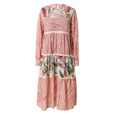Femi Stories Košeľové šaty 'BOHA'  staroružová / rosé / biela / zelená