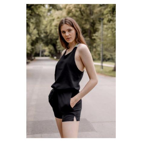 Calvin Klein romper s logo ramienkami - čierna
