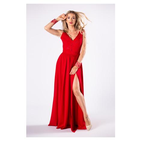 Dlhé červené spoločenské šaty