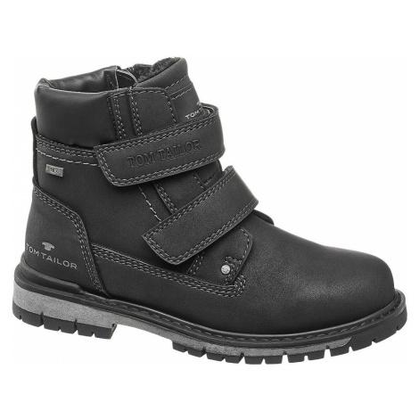 Tom Tailor - Čierna členková obuv so zipsom Tom Tailor s TEX membránou