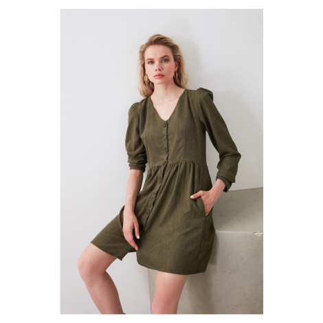 Trendyol Khaki Button Detailed Dress