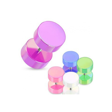 Falošný plug do ucha - farebné valčeky s perleťovým povrchom - Farba piercing: Zelená