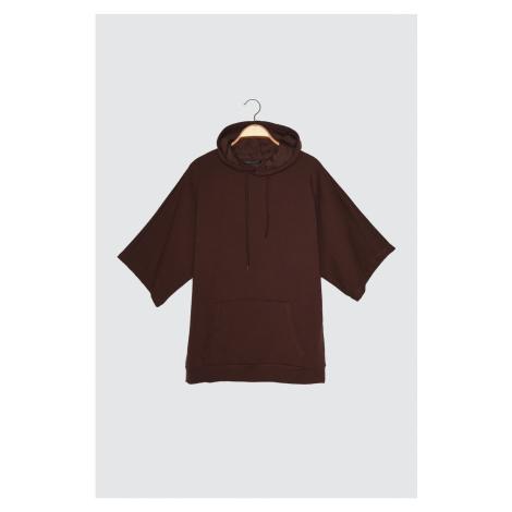 Trendyol Brown Men's Short Sleeve Hooded Oversize Sweatshirt