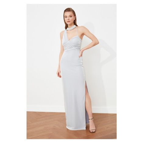 Trendyol Gray Neck Detailed Evening Dress & Graduation Gown