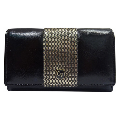Dámska čierna peňaženka s ozdobným zlatým pásom