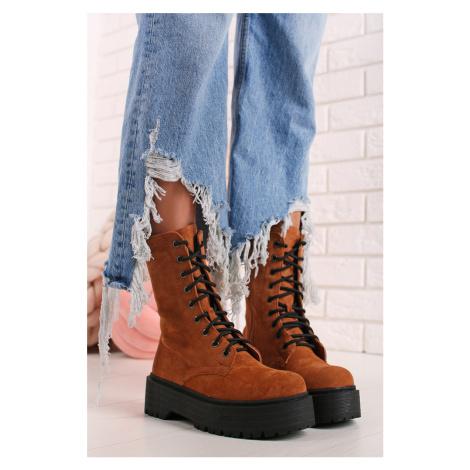 Škoricové šnurovacie topánky Agnes Ideal