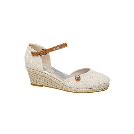 Krémové sandále na klinovom podpätku Dockers
