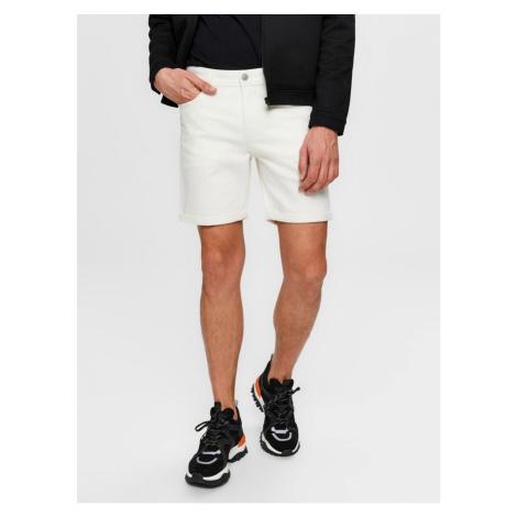 Selected Homme White Denim Shorts