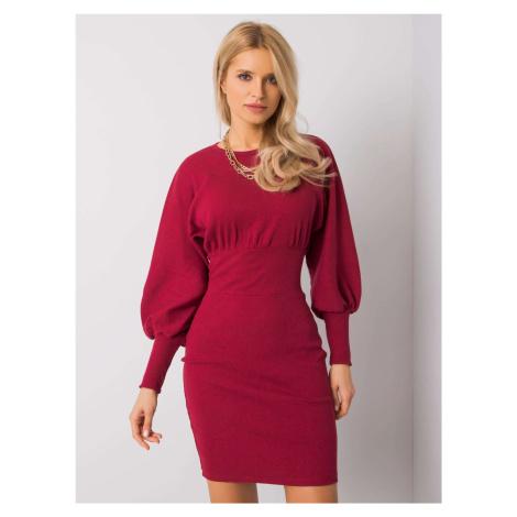 Elegantné bordové šaty s dlhým rukávom