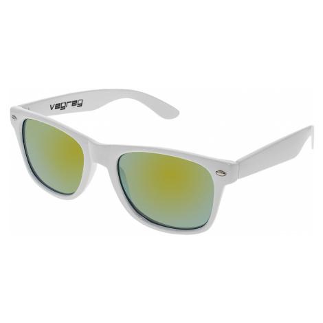 Slnečné okuliare Nerd zrkadlové biele zlaté sklá