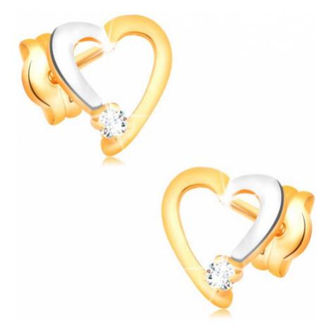 Briliantové náušnice v 14K zlate - obrys srdiečka s čírym diamantom