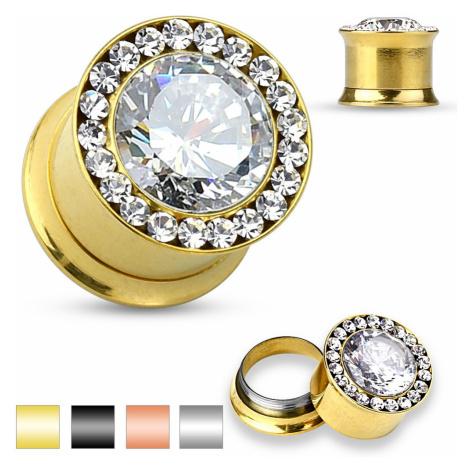 Oceľový plug do ucha - veľký číry zirkón, malé zirkóniky, 6 mm - Farba piercing: Zlatá
