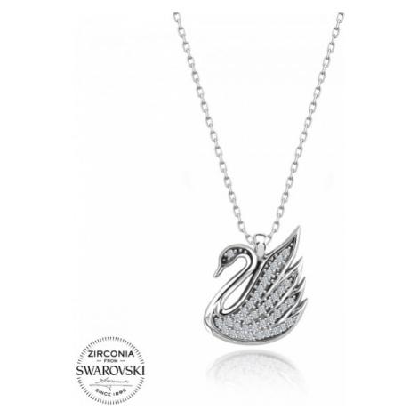OLIVIE Strieborný náhrdelník LABUŤ Swarovski 3707